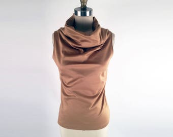 Alena Designs - Funnel - Funnel Neck Sleeveless Golden Tan Ponte Knit (Viscose Nylon Lycra) Top