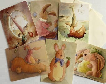 Rabbit, bunny greetings cards, 6x designs, everyday, all occasion blank cards with envelopes, mixed card pack