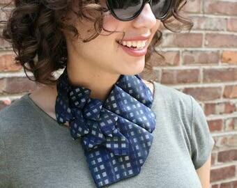 Necktie Necklace - Hipster Clothing - Memorial Gift - Ascot - Necktie Scarf - Women's Tie - Gift For Her - Work Wear - Navy Plaid Scarf. 53