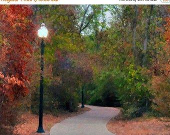 HUGE SUMMER SALE 40% off Autumn, Ny, Central Park, Lanterns, Trees, Landscape, Nature Photograph, Fine Art, Painted Photograph, Seasonal Pho