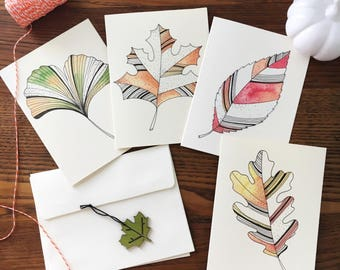 Fall leaves Card. Leaf Note Card Set. Fall-themed cards. Watercolor Leaves. Leaf Illustrations. Hostess gift. Fall leaves. Set of 4.