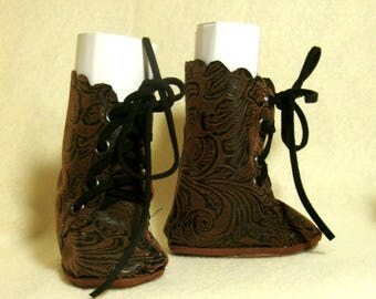 """Brown """"embossed suede"""" boots for 18"""" dolls"""