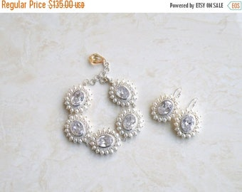 Summer Sale Bridal Bracelet and Earrings Set CZ Pearl Silver GB3Set Pearl Jewelry