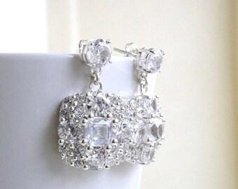 Summer Sale Ivanka Trump Cushion CZ Sterling Silver Stud Earrings IE2