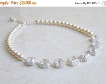 Summer Sale Bridal Necklace Cushion CZ Halo Ivory Swarovski Pearl IN1