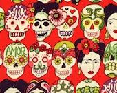 Gotas de Amor - Red- Alexander Henry Fabric FRIDA KAHLO Sugar Skulls Calaveras ( Yard or Half Yard )