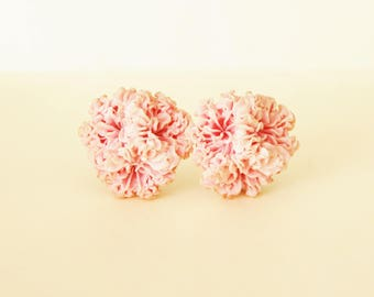Vintage Pink Flower Earrings  Plastic Clip On 1950s Extruded Carnations