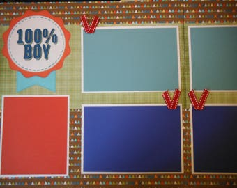 2 100% BOY with Poem 12x12 Premade Scrapbook Pages for your family
