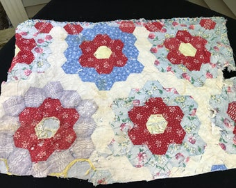 Vintage Hand Quilted Red and Blue Grandma's Flower Garden Cutter Quilt Piece