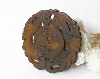 Brown Jade Pendant Carved Vintage Asian Double Dragon Yin Yang Feng Shui Amulet For Jewelry Making