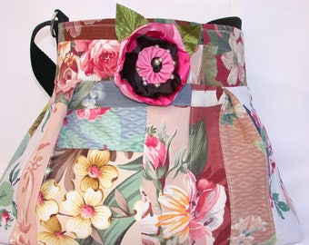 Vintage Barkcloth Patchwork-scrolls-dogwood-roses -Beach bag -adjustable-Messenger -Shoulder Bag- BagZGirl