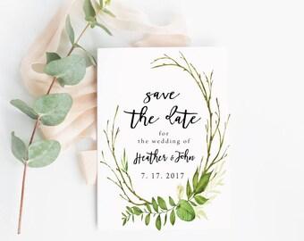 Wedding Stationery,  Greenery Invitation, Greenery Save the Date Card  | Save the Dates | Greenery Wedding Invitation |
