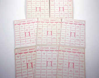 Vintage 1950s Pink and Ivory Stork Bingo Cards with Baby Set of 8