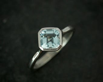 Asscher Aquamarine and White Gold and  Palladium, Asher cut Solitaire Ring, Custom Handcrafted 14k White Gold Engagement Ring, For Fiance