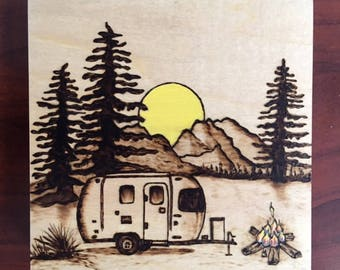 Camping in the Airstream - Woodburned Art Panel-Pyrography