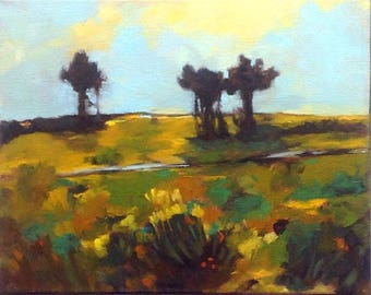 STILL STANDING, oil painting landscape painting, original oil, 100% charity donation, stretched canvas 8x10 ,