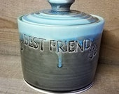 BEST FRIEND Treat Jar Pet Urn Canister Lidded Storage Jar With Paw Print Olive Bluebell Ready To Ship