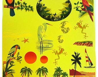 PARADISE In COLOR Glass Enamel Decals Frog Heron Parrot Toucan Sea Star Low Fire
