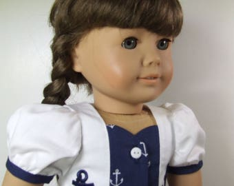"Nautical Dress for 18"" dolls like American girls"