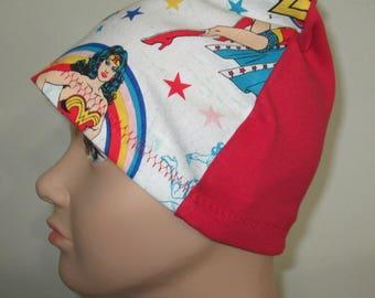 Kid's Chemo Hat Wonder Woman in White Children's Cancer Cap, Alopecia, Sleep Cap