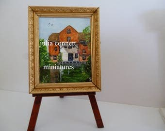18th Century Shalford Watermill in Surrey , England- Original Miniature Acrylic  one 12th scale Painting