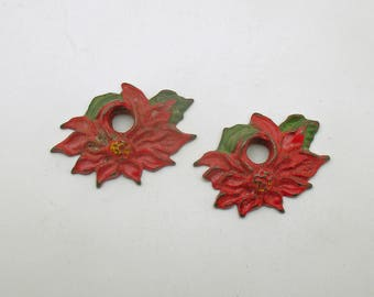 Vintage Christmas Candle Holders Poinsettia Cast Iron
