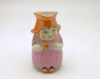 Vintage Figural Creamer Girl with Flowers