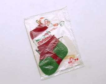 Vintage Christmas Stocking Ornament Miniature