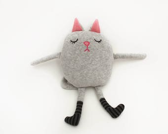 "Cat Sleepy Kitty in Pajamas ""Fleur"" Cotton Monster Plush"