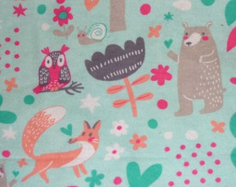 Fox and Bear Receiving Blanket - Baby Swaddle Blanket - Woodland Animals Baby Blanket - Baby Photo Prop - Receiving Blanket - Baby Bedding