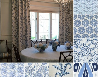 Custom John Robshaw Blue Drapes You pick the style - Lined