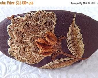 CLEARANCE - Brown embroidered hair barrette, thick hair clip, hair accessory