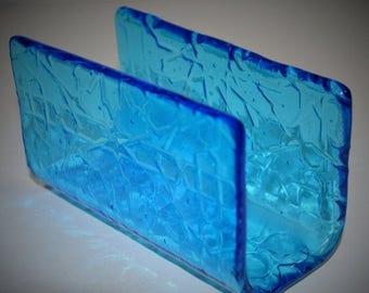 Sale Sponge Holder, Napkin Holder, Note Holder, Letter Holder Geometric Fused Glass