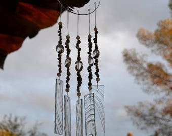 Sale Windchime Clear Textured Glass with Sea Shells
