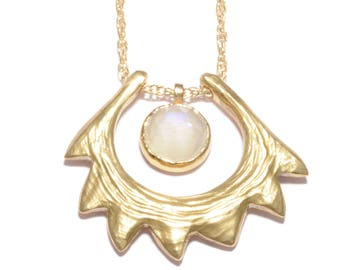 Spire Shell Necklace | Bronze and Moonstone Necklace | Statement Necklace