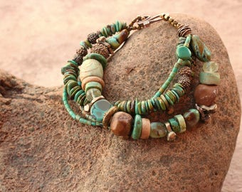 RESERVED + Turquoise Beaded Bracelet + Multi Strand Bracelet + Antique Beads + New Mexico Color + Southwest Summer + Desert Style