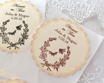 Meant to Bee Stickers, Bee Favor Stickers, Honey Wedding Stickers, Set of 10