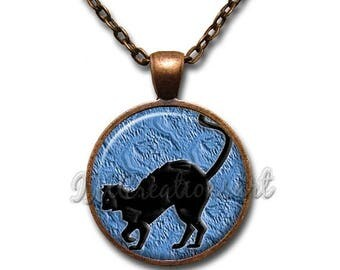 25% OFF - Black Cat Walk Midnight Blue Halloween Glass Pendant or with Chain Link Necklace HD184