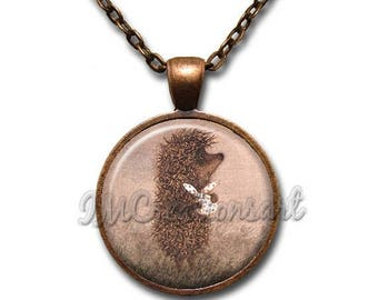 25% OFF - Hedgehog in the Fog Glass Dome Pendant or with Chain Link Necklace FT138