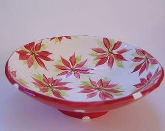 whimsical poinsettia pottery Serving Bowl, candy dish, Holiday decor, Christmas decor