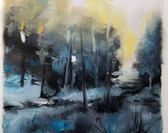 """Abstract Semi Abstract Landscape Oil Painting 4x4""""  Original"""