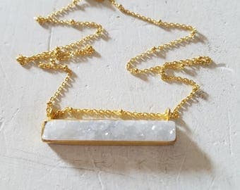 Snow White Drusy Bar 14k Gold Vermiel Necklace