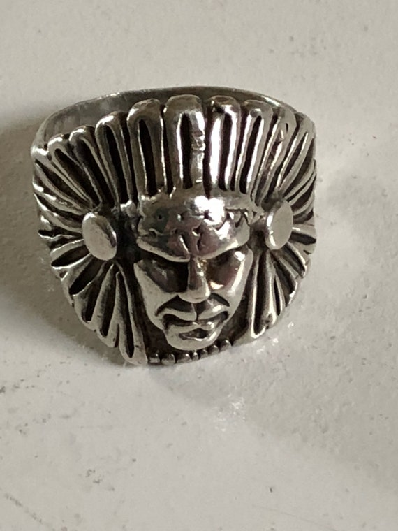 Antique Sterling Silver Western Indian Chief Ring 925 Size 9.75 (11.8grams)