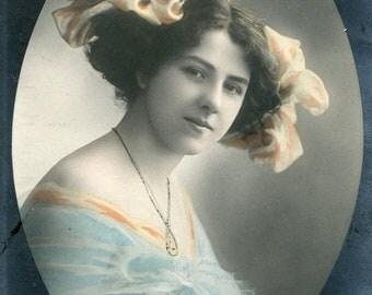 Vintage French Lady RPPC postcard -  VC002