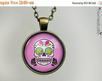ON SALE - Sugar Skull (PNK) : Glass Dome Necklace, Pendant or Keychain Key Ring. Gift Present metal round art photo jewelry by HomeStudio