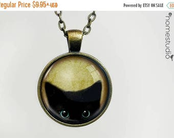 ON SALE - Peeking Cat : Glass Dome Necklace, Pendant or Keychain Key Ring. Gift Present metal round art photo jewelry by HomeStudio