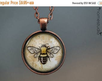 ON SALE - Honey Bee : Glass Dome Necklace, Pendant or Keychain Key Ring. Gift Present metal round art photo jewelry by HomeStudio
