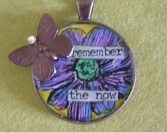 Mixed Media Butterfly Brass Pendant
