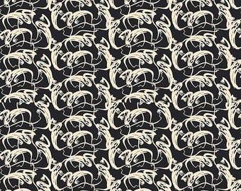 ON SALE Penny Rose Fabrics Trick or Treat Stripe Ghosts Black