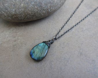 Green Labradorite Oxidized Silver Necklace, Sterling Silver, Blue Green, Wire Wrapped, Large, Pendant, Irisjewelrydesign